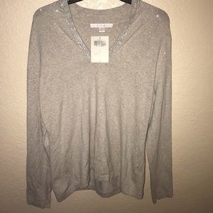 Boston proper studded long sleeve sweater shirt